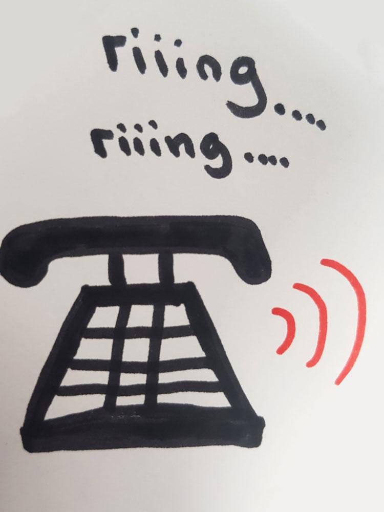Telefon von Azubine Anna gezeichnet
