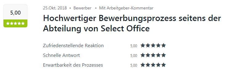 Kununu-Bewertung für Select Office