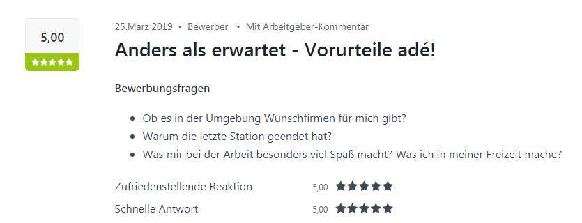 Ein bewerber von Sinsheim bewertet Select mit fünf Sternen auf Kununu