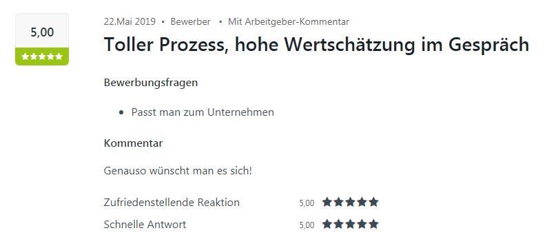 Bewerber-Bewertung für den Standort Sulzfeld