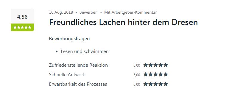 Positive Kununu Bewertung von einem Bewerber in Heilbronn.