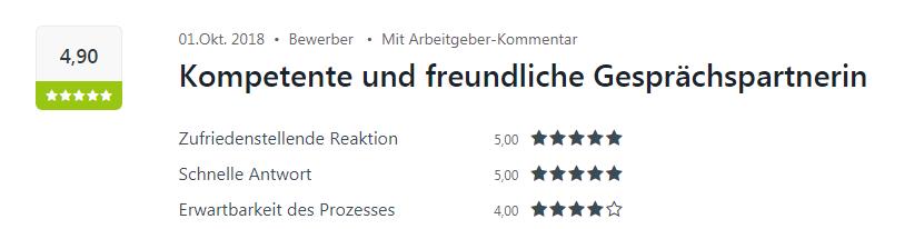 Kununu-Bewertung von einem Bewerber für den Standort Karlsruhe