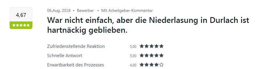 Positive Kununu-Bewertung von einem Bewerber in Karlsruhe
