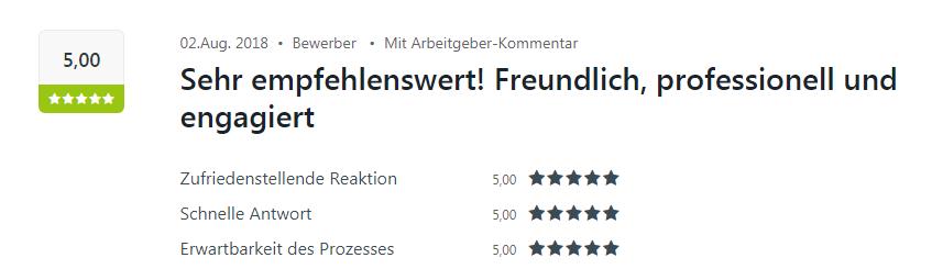 Fünf Sterne Bewertung auf Kununu für den Bewerbungsprozess bei Select in Karlsruhe