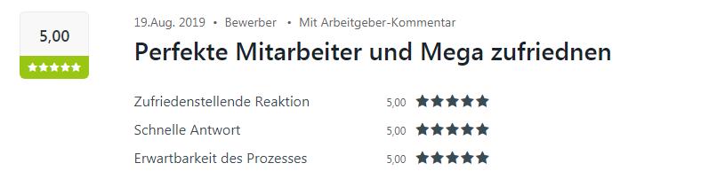 Ein zufriedener Bewerber bewertet den Standort Mosbach mit fünf Sternen auf Kununu.