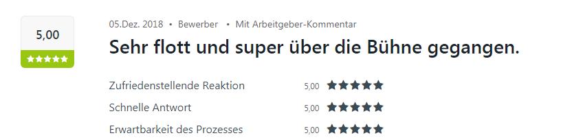 Fünf Sterne Bewertung zur Personalvermittlung und Zeitarbeit in Mosbach