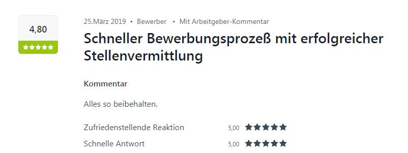 Kununu-Bewertung für Select in Bruchsal mit 4,8 Sternen