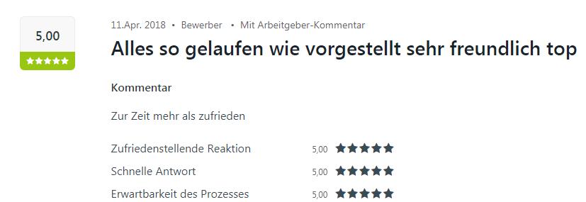 Bewertung von einem Bewerber mit 5 Sternen für Select in Bretten