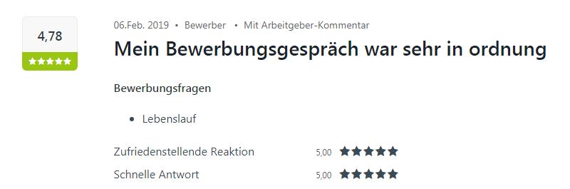 Kununu-Bewertung von einem Bewerber für Select in Baden-Baden