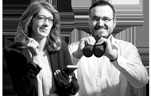 Frau und Mann als erfahrene Mitarbeiter im Einkauf zur Personalvermittlung