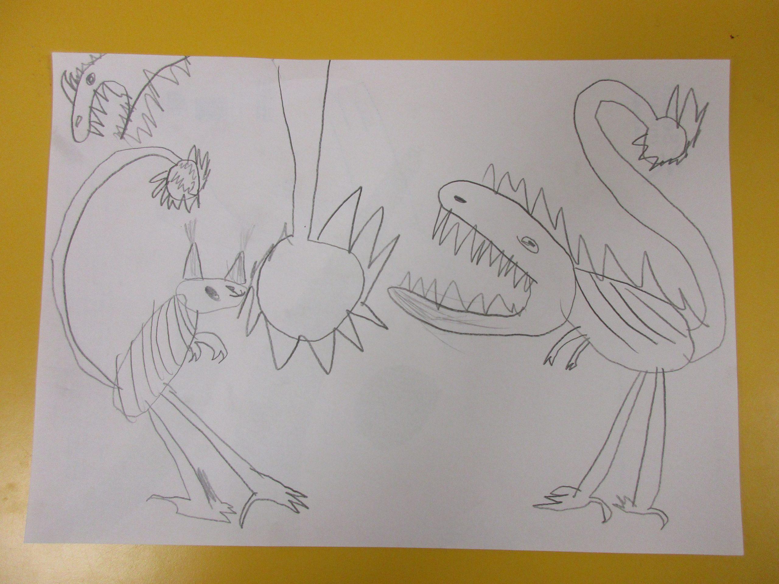 Dinosaurier auf Select Papier gezeichnet
