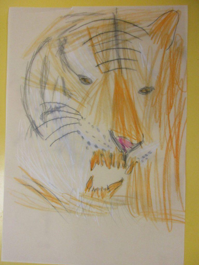 Löwe von einem Kindergarten-Kind gemalt